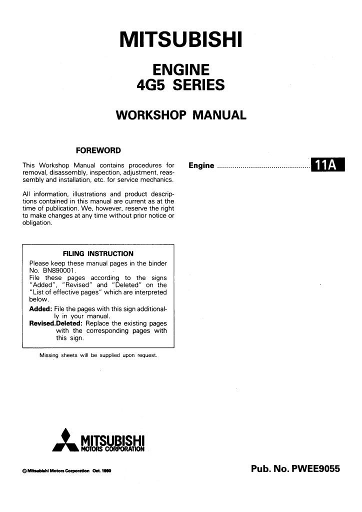 Mitsubishi Pwee9055 Engine 4g5 Series Workshop Manual Pdf